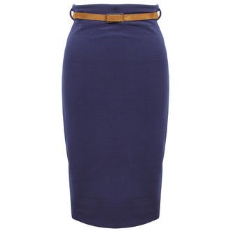 View Item Blue Belted Pencil Skirt